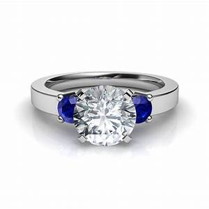 three stone round brilliant engagement ring with blue With wedding rings with sapphire stone
