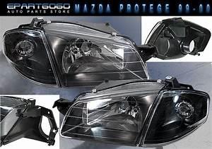 99 00 Mazda Protege Lx Dx Es 4pc Jdm Black Housing Headlights Corner Lamp Set