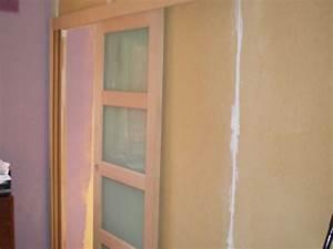 porte coulissante avec cloison medium azur et bois With porte de garage enroulable avec porte coulissante dans cloison