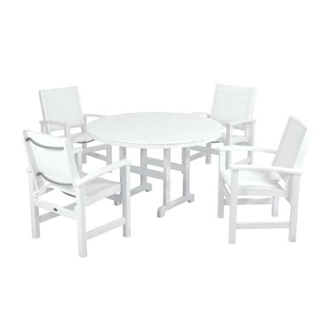 polywood coastal white 5 patio dining set with white