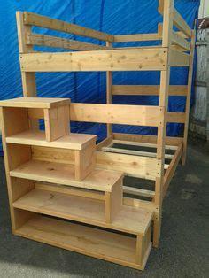 full size heavy duty loft bed  stair case shelf