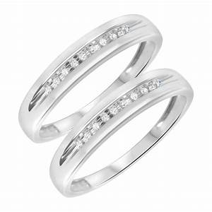 1 8 ct tw round cut mens same sex wedding band set 10k With same sex wedding rings