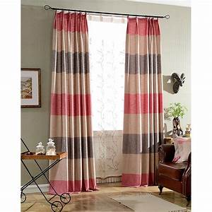colorful print horizontal striped burlap long pinch With horizontal pleated curtains