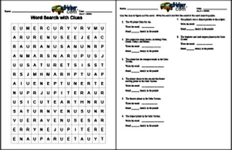 create  word search  clues worksheet