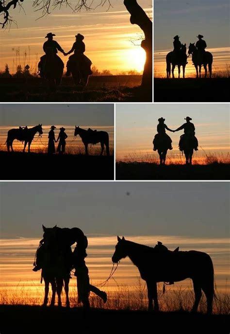 sunset horse couple engagement photo montage amazing