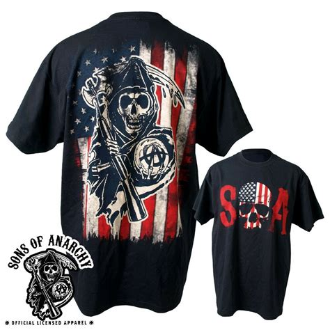 sons of anarchy shirts sons of anarchy skull logo american flag soa biker reaper samcro shirt s 3xl ebay
