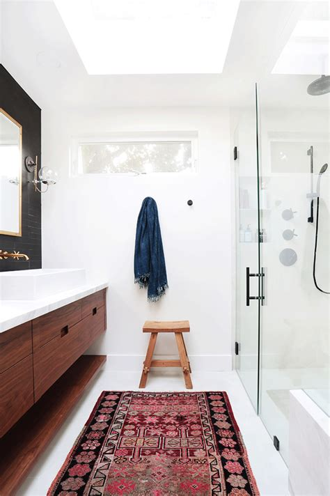 persian rug   bathroom  add warmth