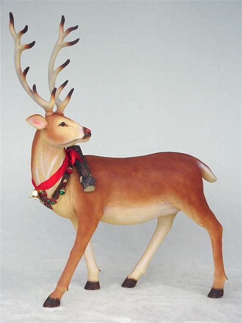 reindeer long horn life size statue christmas decor