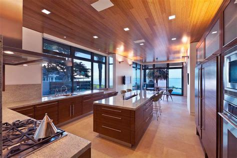 Modern Walnut Slab Ceiling Kitchen Units  Interior Design