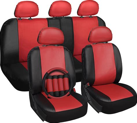 Car Upholstery Cover by Faux Leather Car Seat Covers Black 17pc W Steering