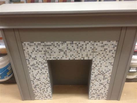 faux fireplace mantle with self adhesive mosaic tiles