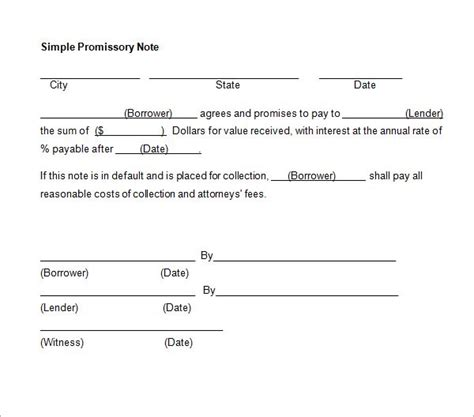 printable sample simple promissory note form real estate