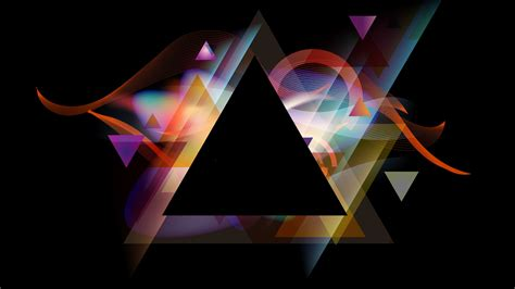 Abstract Black Triangle by Abstract Geometry Black Background Colorful Triangle
