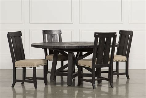 living spaces kitchen tables jaxon 5 piece extension round dining set w wood chairs