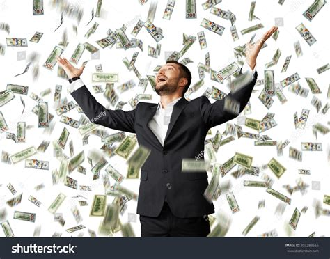 Happy Excited Businessman Raising Hands Looking Stock