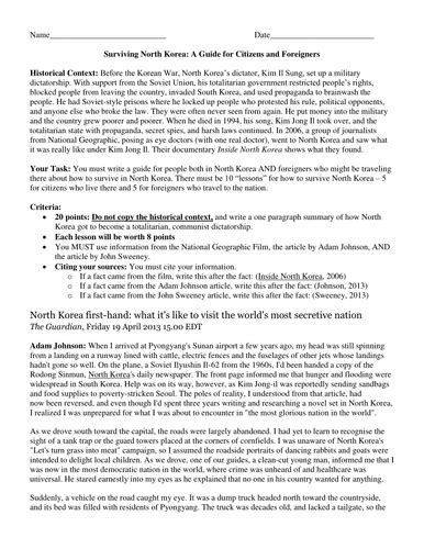 Writing A Guide To Survive In North Korea By Groovingup  Teaching Resources Tes