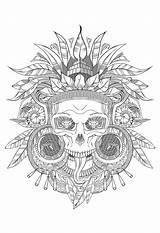 Coloring Skull Aztec Adults Incas Shades Mayans Grey Adult Aztecs Incredible Gray Maya Museum British Justcolor sketch template