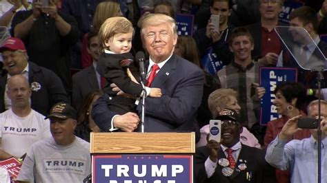 trump baby donald child dressed stage too much looking kid rally candidate pennsylvania during nbcnews