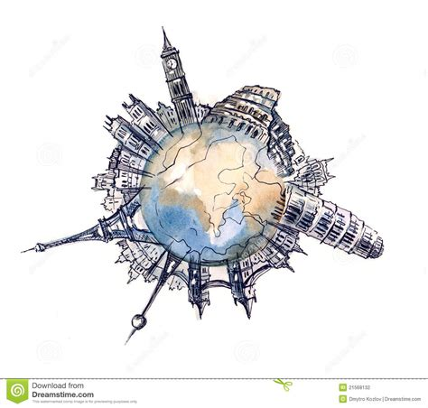 World Architecture Stock Illustration Image Globe