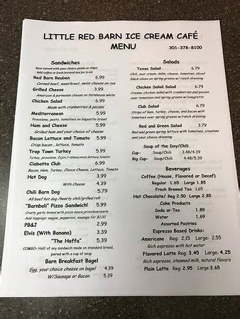 The Food Barn Menu by Menu Picture Of Barn Cafe