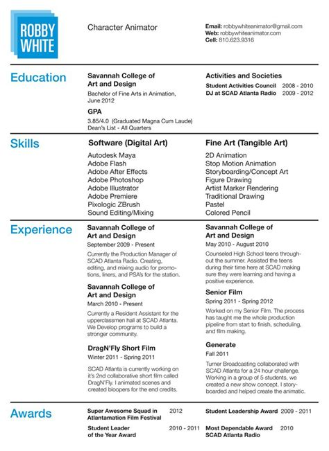 Animation Resume by Pin By Emily On Computer Animation Resume Sles Sle