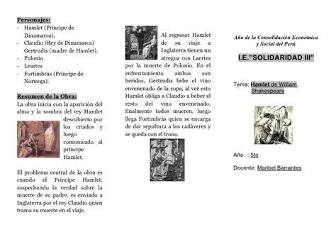 Hamlet Resumen En Ingles by Triptico Hamlet