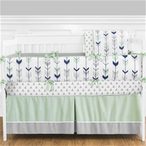 grey navy blue and mint woodland arrow baby bedding 9pc