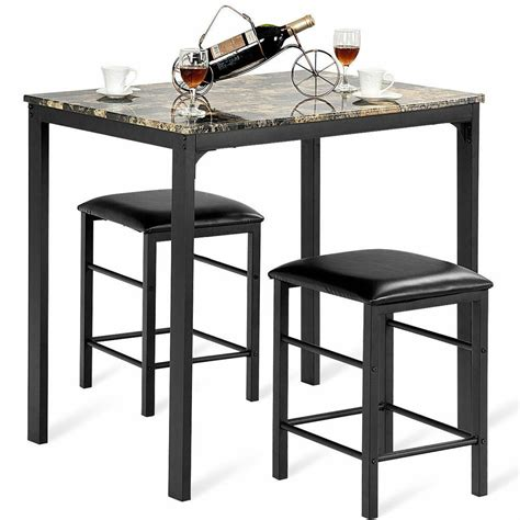 pcs counter height dining set faux marble table  chairs kitchen bar furniture ebay