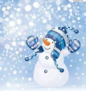 4-Designer | Cute snowman illustrator vector material