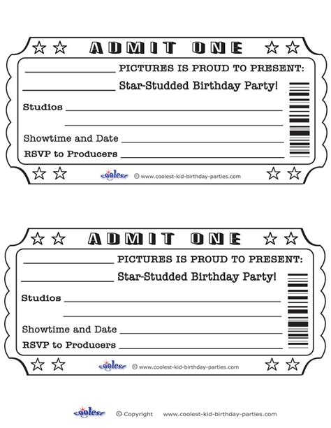 printable admit  invitations  ticket birthday