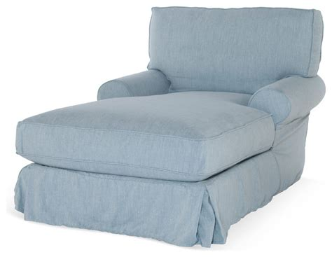 comfy slipcovered chaise blue contemporary indoor chaise