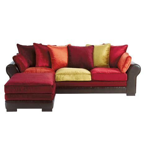 canapé d 39 angle 5 places en croûte de cuir et velours