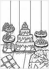 Coloring Cupcakes Cakes Pages Food Cake Cupcake Desserts Coloriage Simple Children Adults Cup Little sketch template