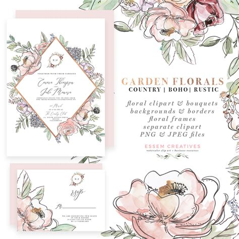 garden floral watercolor invitation borders papers clipart