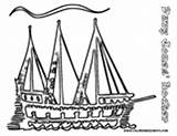 Coloring Pirate Ship Pages Mast Multi Hook Captain Seas Getcoloringpages sketch template