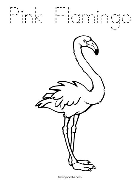 pink flamingo coloring page tracing twisty noodle