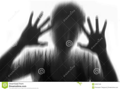 Horror Woman Behind The Matte Glass ,style Black And White