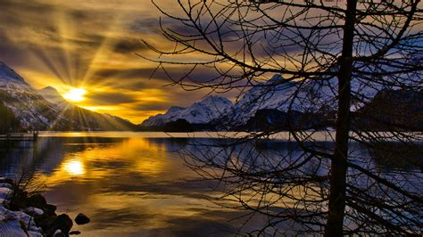 switzerland lake mountain  winter sunset hd nature