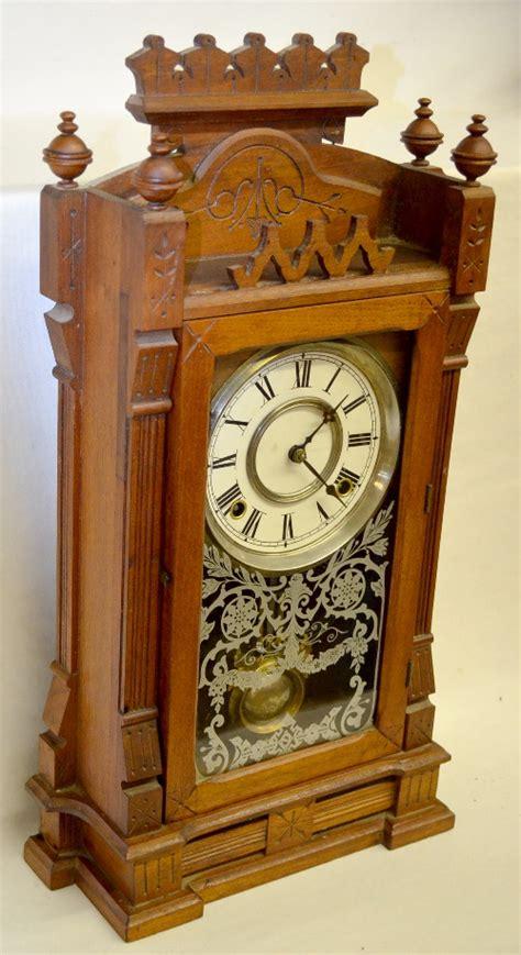 antique gilbert dacca walnut kitchen clock   unmark