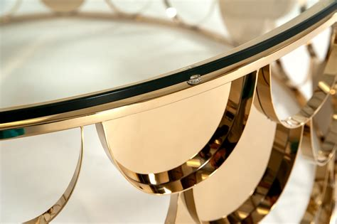 This arch leg bespoke coffee table is a statement piece for any living room.design inspired by the barns surround our workshop. Modrest Javier Modern Glass & Gold Round Coffee Table - Coffee Tables - Living Room