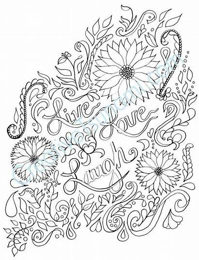 Coloring Pages Adult Laugh Printable Quote Flower