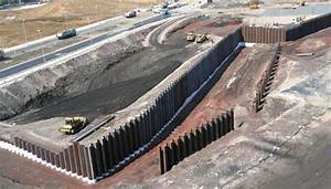 Retaining wall of sheet piling for the construction ...