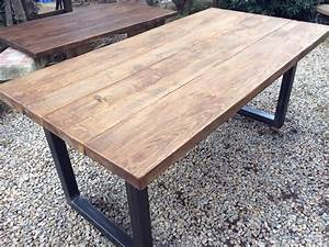 Table Bois Massif Metal : pieds acier designbois ~ Teatrodelosmanantiales.com Idées de Décoration
