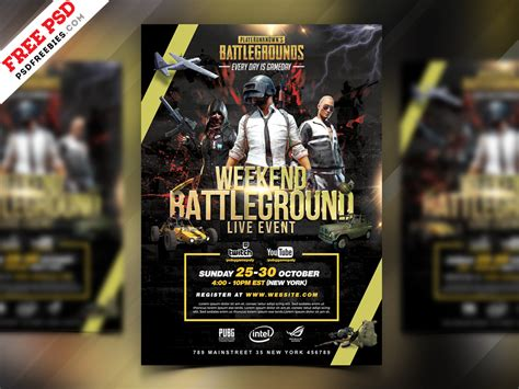 pubg tournament flyer psd template psdfreebies com