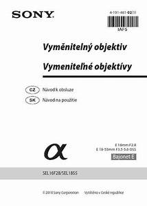 Sony Sel 16f28 Objective Download Manual For Free Now