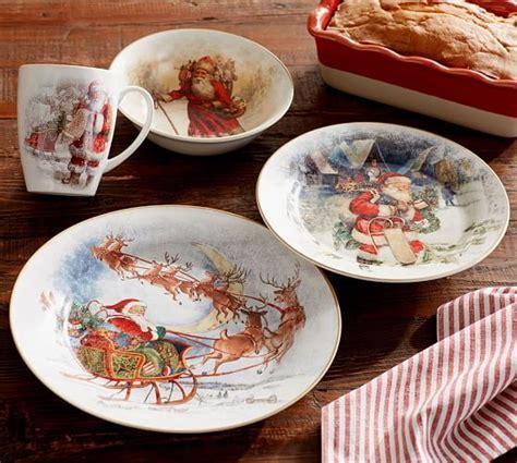 Nostalgic Santa 16 Piece Dinnerware Set   Pottery Barn