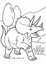 Dinosaur Coloring Triceratops Printable Angry Dinosaurs Sheets Simple Drawing Kid Flower sketch template