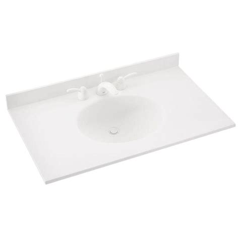 cleaning kitchen sink swan ellipse 37 in w x 22 in d solid surface vanity top 2237