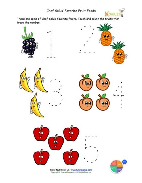 preschool writing activity trace the fruit foods
