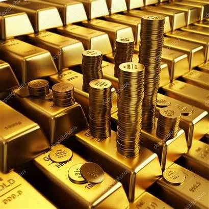 Gold Bars Coins Golden Depositphotos
